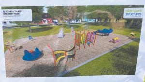 Pictured above is a rendering of the Letcher County Sensory Park now under construction in Whitesburg, next to the city's swimming pool. (Photos by William Farley)