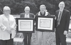 From left to right are Tabitha Brewer, Observation Program Leader; Major Sparks, Observer; Robert Watts, Observer; and Shawn B. Harley, Meteorologist-in Charge.