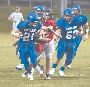 Letcher Central opens season this Friday Letcher County Central's Hunter Campbell (21) and Eli Matthews (52) are seen in action during the Cougars' pre-season tuneup against Prestonsburg High School last weekend. Letcher Central opens the 2018 season at Knox Central High School in Barbourville this Friday night (August 17). Kickoff is set for 7:30 p.m. The Cougars will play home games on August 24 (Bell County) and August 31 (Hazard) before hitting the road again September 7. (Photo by Chris Anderson)