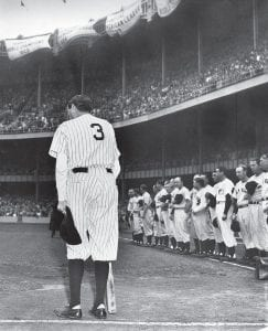 Homer king Babe Ruth dies at 53 Newspapers all across the United States, large and small, carried the news of the death of home run king Babe Ruth, who died from cancer in New York City on August 16, 1948. The Mountain Eagle carried the news on the front page of its August 19, 1948 edition. Above, an ailing Ruth is seen wearing his famed number 3 uniform, bowing as he acknowledges the cheers of thousands of fans who saw the No. 3 retired permanently by the Yankees during the June 13, 1948 observance of the 25th anniversary of the opening of Yankee Stadium in New York. For two days after his death, Ruth's body lay in state at the main entrance to Yankee Stadium, and tens of thousands of people stood in line to pay their last respects. He was buried in Hawthorne, New York. Ruth retired from baseball in 1935, having hit a then-record 714 home runs. He was diagnosed with throat cancer in 1946 and died two years later at age 53. (AP Photo/Harry Harris)