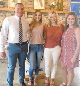 From left to right are scholarship winners Kyton Joseph, Lindsay Bentley, Savannah Parsons, and Meghan Combs.