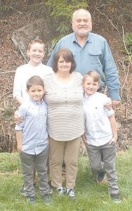 Charles Yonts is pictured with his wife Jenny Lynn Yonts and three of their four grandsons, Gage, Jude and Jace.