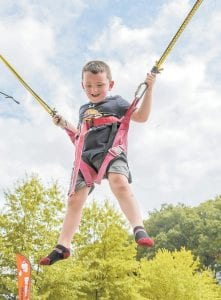 Ian Hall was flying high on the bungee swing at the Homecoming Days festival in Jenkins last weekend.
