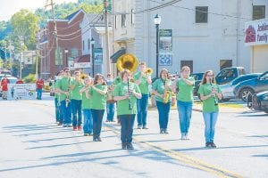 The Jenkins High School Marching Band performed the Cavalier Fight Song during Saturday's Homecoming Days parade.