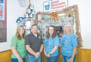Boggs Pharmacy staff members, from left, Kristi Graham, Pharmacist Jay Graham, Alexis Watts, and Betsy Addington. All photos by Chris Anderson