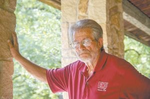 Robert Watts stands outside the visitors center at Lilly Cornett Woods in the Linefork section of Letcher County.