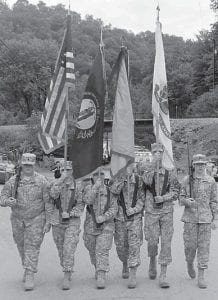 On Sept. 1, the Letcher County Central High School JROTC participated in the Isom Days parade. The color guard consisted of Cadets Steve Collins and Zack Kiser carrying rifles, Cadet Molly Collins carrying the U.S. flag, Cadet Madison Adams carrying the state flag, Cadet Jason Adams carrying the Army flag, and Cadet Randy Shepherd carrying the school flag. Carrying the JROTC banner were Cadets Blake Stidham and John Sturgill. In the Dual Armed Exhibition Team were Cadets Dalton Werley and Chase McBee. In the Squad Drill Team were Cadet Layla Bormes, Cadet Courtney Browning, Cadet Haley Niece, Cadet Hannah Bormes, Cadet Selena Sexton, Cadet Elijah Roark, Cadet Hannah Taylor and Cadet Carly Kilbourne. Participating in support were Cadet Gracie Hall, Cadet Kevin Johnson, Cadet Michael Sturgill, Cadet Caleb Fox, Cadet Pauline Smith and Cadet Jetta Lewis. Written by Cadet Gracie Hall.