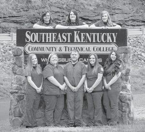 Pictured are the Southeast Kentucky Community and Technical College 2018 Respiratory Care graduates, (top row, left to right) Tiffany Click, Matasha Mullins, Tara Adams (bottom row) Brandi Gay, Misti Johnson, Tyler Branham, Sarah Dean and Makayla Combs.