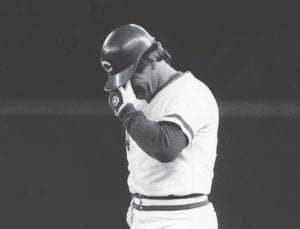 "Pete Rose becomes all-time hits leader in 1985 Thirty-three years ago this week — on September 11, 1985, Cincinnati Reds player/manager Pete Rose was photographed fighting tears on first base at Riverfront Coliseum in Cincinnati after making his 4,192nd hit to break the record held by Ty Cobb. Rose continues to be baseball's all-time hits leader. A native of Cincinnati, Rose was known as ""Charlie Hustle"" for his tough work ethic during a career in which he had back-to-back World Series championships with the Reds in 1975 and 1976 and a third world title with Philadelphia in 1979. His record-breaking hit came against San Diego pitcher Eric Show. (AP Photo/Gary Gardiner)"