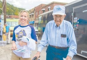 Longtime Neon resident and avid sports fan Bill Blair attended Saturday's festivities with his granddaughter, Devin Whitt.