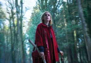 """This image released by Netflix shows Kiernan Shipka in a scene from """"Chilling Adventures of Sabrina,"""" premiering on Oct. 26. (Diyah Pera/Netflix via AP)"""