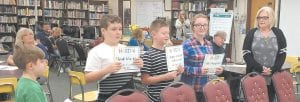Pictured from right, teacher Kathy Rose, Kaylee Owens, Shaun-Michael Collier, Ben Swindall and Anthony Wyatt gave a demonstration earlier this week to the Jenkins Independant Board of Education.