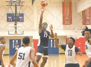 Rivals.com has Marshall County sophomore Zion Harmon as the top-rated point guard in the 2021 recruiting class. (USA Basketball Photo)