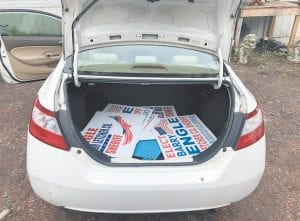 Letcher County Deputy Sheriff Alisha Congleton said she found stolen campaign signs after getting permission to search the Honda Civic with Virginia tags seen in this photo. Theft charges were filed.