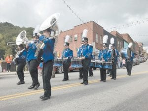 The Letcher County Central High School Marching Band added to the parade.