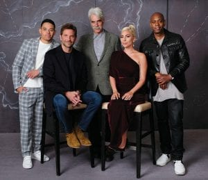 """Bradley Cooper, seated left, cast member and director of the film """"A Star is Born,"""" poses with actors, from left, Anthony Ramos, Sam Elliott, Lady Gaga and Dave Chappelle.The film opens in theaters on Friday (Oct. 5). (Photo by Chris Pizzello/Invision/AP)"""