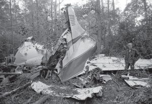 "Plane carrying Lynyrd Skynyrd crashes in '77 This Oct. 20, 1977 photo shows the wreckage of a plane in a wooded area near McComb, Miss., where six people were killed, including three members of the music group Lynyrd Skynyrd. Among those killed were frontman Ronnie Van Zant, guitarist Steve Gaines, and his sister, backup singer Cassie Gaines. Last week — on October 7 — a New York federal appeals court says a new Lynyrd Skynyrd film, ""Street Survivors: The True Story of the Lynyrd Skynyrd Plane Crash,"" can be released despite a dispute over the band's intentions. A lower court judge decided previously that the film violated a ""blood oath"" made by band members not to exploit the group's name after the crash. (AP Photo)"