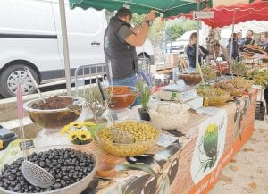 Different kinds of olives can be found at the open market in Collobrieres Village.