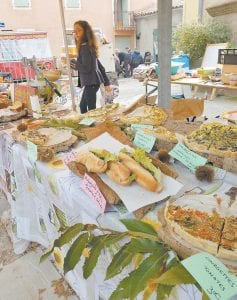 Sandwiches and other foods were sold at the open market at the Chestnut Festival.