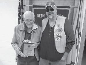 Neon Lions Club member Jack Morgan is pictured with Lions Club President Jason Adams.