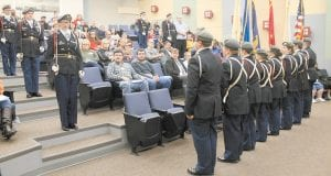 The Letcher County Central JROTC Honor Guard and Color Guard performed a ceremony at the ribbon cutting of the new Veterans Room at Southeast Kentucky Community and Technical College.