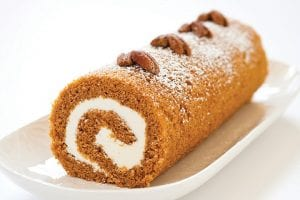 """A pumpkin roll made according to a recipe appearing in the cookbook """"Perfect Cake"""" is seen in this photograph. (America's Test Kitchen via AP)"""