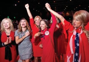 Members of the Trumpettes celebrate as incumbent U.S. Sen. Ted Cruz, R-Texas, is announced as the winner over Democratic challenger Rep. Beto O'Rourke in a tightly contested race at the Dallas County Republican Party election night watch party on Tuesday at The Statler Hotel in Dallas. (AP)