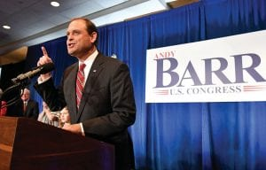 Rep. Andy Barr, R-Ky., speaks to his supporters at his victory celebration in Lexington.