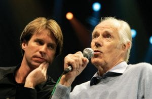 """In this 2006 photo, Giles Martin, left, listened as his father, original Beatles producer George Martin spoke in Las Vegas. Giles Martin has reached into the treasure trove of original recording sessions with a fascinating and exhaustive look at """"The Beatles,"""" better known as the """"White Album."""" (AP Photo)"""