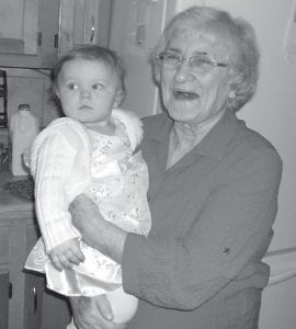 Evelyn Mullins Yonts with one of her granddaughters, Madison.