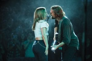 """This image released by Warner Bros. Pictures shows Lady Gaga, left, and Bradley Cooper in a scene from """"A Star is Born."""" (Clay Enos/Warner Bros. Pictures via AP)"""