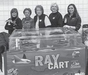 Pictured(from left) are Terry (Aquarium staff ), Rita Pratt, Eileen Sanders and Margaret Hammonds from the Rotary Club of Whitesburg, and Kaitlin (Aquarium staff ).
