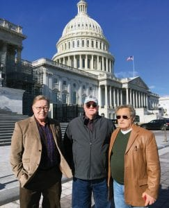 Retired miners and black lung disease victims Kenny Fleming (left), William McCool (center), and Jimmy Moore at the U.S. Capitol last week.