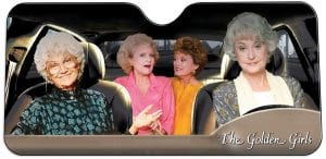 This photo shows a Golden Girls Windshield Sun Shade sold by Toynk.com. Items themed to retro TV shows make great holiday gifts for just the right fan. (AP Photo)