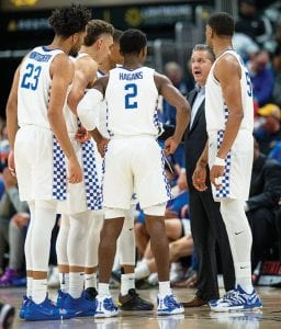 John Calipari says he's not discouraged by the overtime loss to Seton Hall even though UK is now 0-2 when not playing in Rupp Arena and must play at rival Louisville on Dec. 29. (Wade Upchurch Photo)
