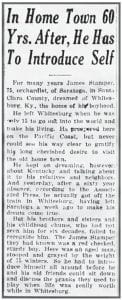 Former Letcher man welcomed home — sort of The images shown above and below show portions of the December 16, 1928 edition of the daily San Francisco Examiner. The Sunday edition of the California newspaper carried a rewrite of an Associated Press feature about a former Letcher County man, 75-year-old James Stamper, who left this area for the West Coast when he was only 15. Stamper told the AP that while he was living in Saratoga, California he frequently dreamt of coming home to see his family members and old friends. When his wish came true, Stamper was surprised when he got off the passenger train here to find that hardly anyone recognized him after all those years apart.