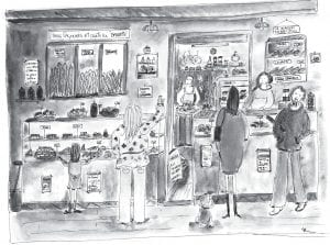 This picture of Oliver's Bakery in Collobrieres, France, where Gwen Johnson trained as a baker was drawn by her friend Sharda, whom she met while in France.