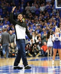 Kentucky linebacker Josh Allen was introduced at the UK-Utah basketball game and got a standing ovation from fans. (Vicky Graff Photo)