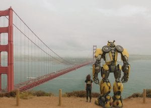 """Hailee Steinfeld as Charlie with Bumblebee in a scene from """"Bumblebee."""" (AP)"""