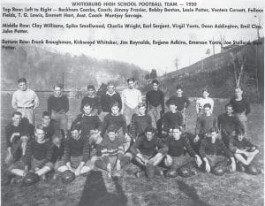 Members of the 1930 Whitesburg Yellowjackets football team are seen in this photo taken at what was then known as Lewis Field. The team, which defeated a good Jenkins team, 7 to 2, in one of that season's most talked about games, featured future University of Kentucky stars Lexie Potter and Sam Potter. This photo was furnished by Hiram Wright, whose late father Charlie Wright was a member of the team. Charlie Wright is the longest-serving county clerk in Letcher County history.
