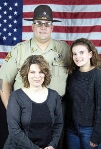 SHERIFF-ELECT Mickey Stines with wife Caroline and daughter Lila.