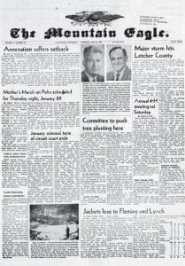Above is the front page from the January 22, 1959 edition of The Mountain Eagle.