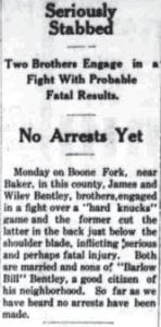 Brothers fought 110 years ago Pictured at right is the image of a report that appeared on Page 2 of the January 21, 1909 edition of The Mountain Eagle. The newspaper was then in its 16th month of operation.