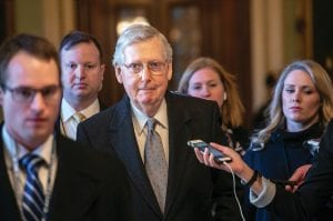 Senate Majority Leader Mitch McConnell, R-Ky., leaves the chamber at the Capitol in Washington on Tuesday after speaking about his plan to move a 1,300-page spending measure, which includes $5.7 billion to fund President Donald Trump's proposed wall along the U.S.-Mexico border, the sticking point in the standoff between Trump and Democrats that has led to a partial government shutdown. (AP Photo)