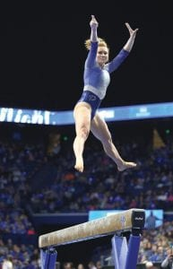 Senior Sidney Dukes says the excitement UK fans provide for the gymnastics team at Excite Night is always special. (Vicky Graff Photo)