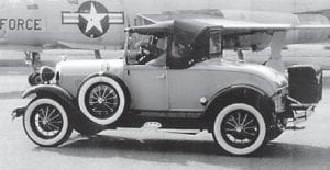 Everett Vanover drives his 1929 Ford in a parade at Travis Air Force Base in California.