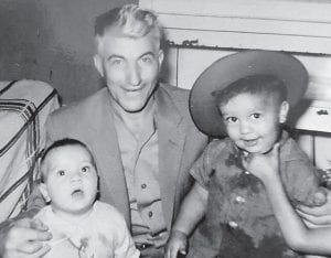 Russell Howard is pictured with two of his grandsons, Bill and Jim Adkins.