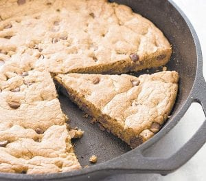 "This Chocolate Chip Skillet Cookie was prepared from a recipe appearing in the cookbook ""The Perfect Cookie."" (America's Test Kitchen via AP)"