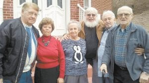 OLD FRIENDS — Pictured during their gathering last week are, from left, Harold and Sue Winchell, of Dandridge, Va.; Barbara Holland, of Haymond; Struttin' Time columnist Steve Brewer; Mackie Cook, of Haymond, and Don Bailey, of Pottersfork. (See Struttin' Time column above left for more information.)