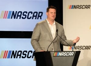 """NASCAR is on board — and on the boards of sportsbooks from Nevada and beyond — with legalized betting in 2019. """"I wanted to go all in on gambling last year,"""" NASCAR executive Steve O'Donnell, above, said. (Jeff Siner/The Charlotte Obsserver)"""